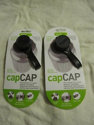 2 BLACK HUMANGEAR CapCap 2-in-1 bottle lid PC-FREE BPA FREE PHTHALATE-FREE