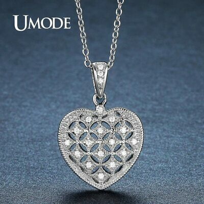 UMODE Fashion Wedding Heart Shiny CZ Stone Pendant Necklace for Women Love Gift