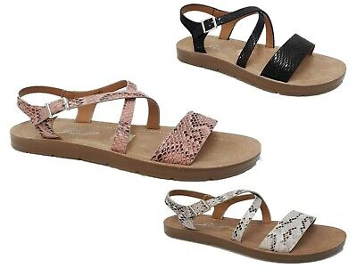 Womens Flat Peep-Toe Strappy Comfy Summer Sandals Shoes Sizes 3-8