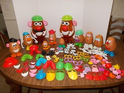 Mr Potato Head Lot 162 Pieces Mixed Parts Hasbro Playschool 2 Large Containers