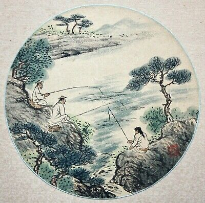 Anonymous Chinese 20th c. Painting on Paper, Fishermen at Shore, red Artist Seal