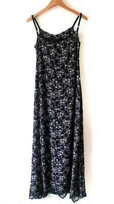 Oasis Dress Size 8 10 Reg Black Ditzy Floral Flattering Strappy Maxi Gypsy