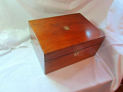 An Antique Wood Writing Box With Brass Inlay