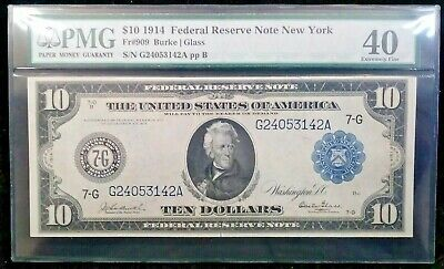 1914 $10 Federal Reserve Note - New York - FR-909 - PMG 40 - Extremely Fine