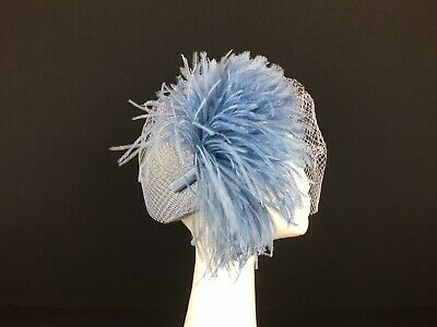 Marinda Dusky Blue Pill Box Style Hat with Veil and Feathers   (72)