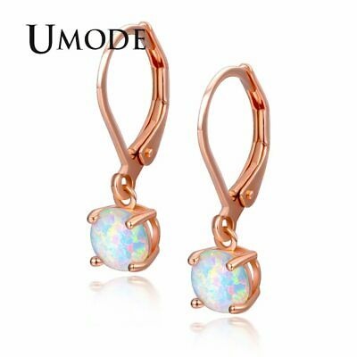 UMODE Fashion Round White Fire Opal Women Long Drop Earrings Bridal Female