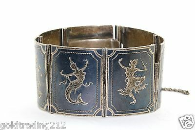 Vintage Siam Niello Dancer S/w Chain Onyx Panel Bracelet 925 Sterling Br 573