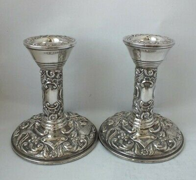 Decorative Pair of Sterling Silver Candlesticks 1980/ H 9.2 cm
