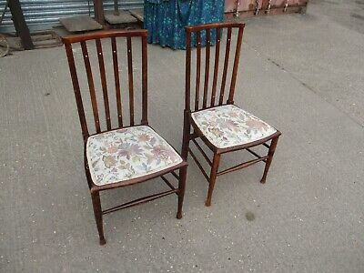 A Pair of Edwardian Mahogany Nursing Chairs Bedroom Vintage Dark Stained