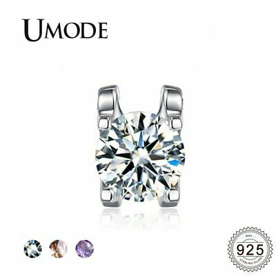 UMODE 925 Sterling Silver Solitaire Pendants Women Fashion White Yellow Purple