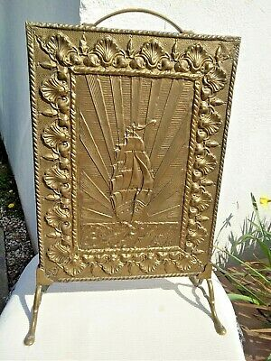 Vintage Embossed Brass / Wood Fire Guard / Fire Screen - Sailing Ship