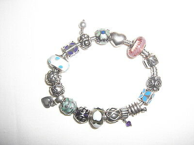 """Authentic PANDORA ALE 925 Sterling Silver Bracelet with 17 Original Charms 7.1"""""""