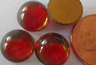36 Vintage German Glass Smooth Red w/Gold Swath Round Stones 10.5mm avg