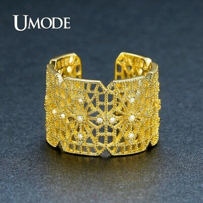 UMODE New Geometric Hollow CZ Stone Unique Rings for Women Gold Color Vintage