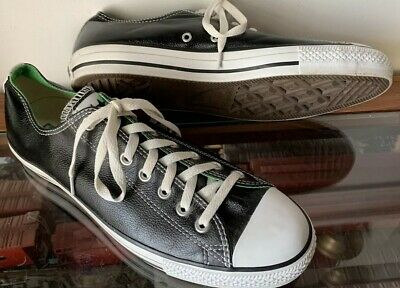Converse All Stars Black Leather, White & Green Lo Unisex Mens 11 Women's 13