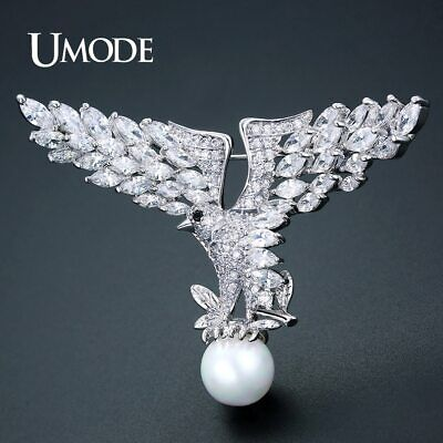 UMODE New Fashion Animal Pearl Eagle Brooch Jewelry for Women Silver Color