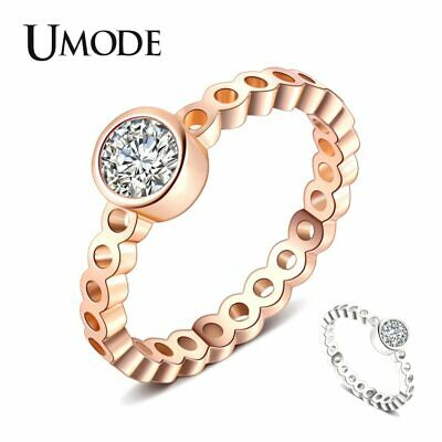 UMODE Engagement Wedding Silver Color Rings For Women Cubic Zirconia Round Cut