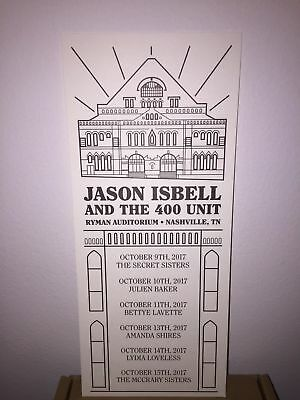 Jason Isbell Ryman Handbill Setlist Nashville Historic 6 Night Run 400 Unit 2017