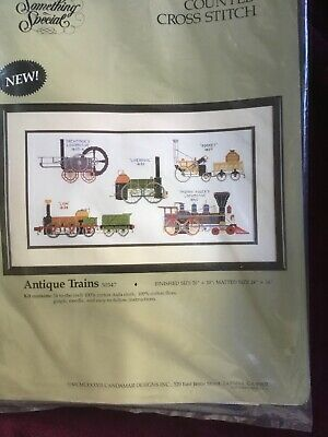 Rare Vintage 'ANTIQUE TRAINS' Counted Cross Stitch Kit. Made In USA