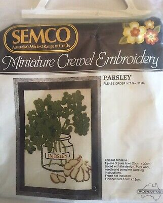 Vintage Semco Miniature Crewel Embroidery Kit 'Parsley'  No. 1126. As new