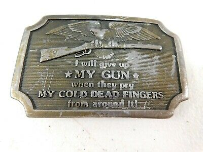 "Vtg Indiana Metal Craft ""I Will Give Up My Gun When They..."" Belt Buckle 1977"