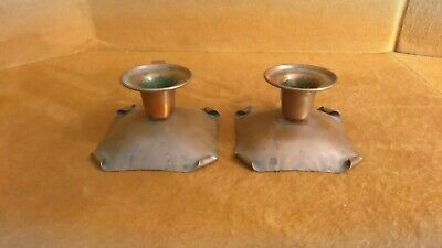 Arts And Crafts Drumgold 550 Copper Matching Pair Of Candle Holders.