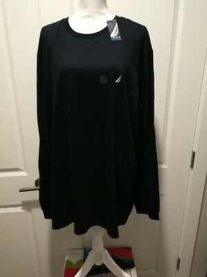 NWT Nautica Long Sleeve Solid Tee T Shirt 100% Cotton Navy Blue XXL 2XL **FLAW**