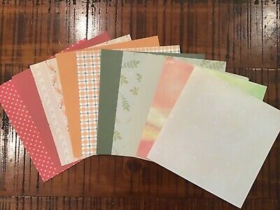 10 X Co Ordinating Autumn colours and patterns Papers Scrapbook Card Making