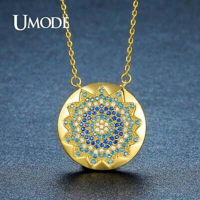 UMODE Vintage Charm Round Crystal Sun CZ Stone Pendant Necklaces for Women Gold