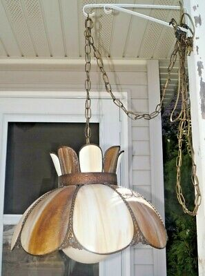 Antique 1930s Ornate Copper Trim Slag Art Glass Electric Hanging Lamp W/ Shade