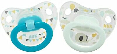 NUK 18-36m Transparent Party Buntings 2 Pack Silicone Orthodontic Pacifier CUTE!
