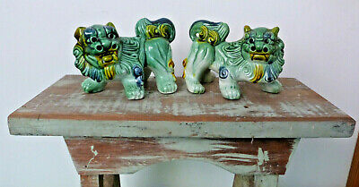 Chinese Ceramic Pair of Protective Foo Dogs Lions Green Aqua Glazed