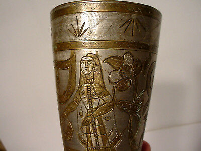 c KQQL RARE Old Brass Bronze Metal Egyptian Style Carved Tumbler Water Glass