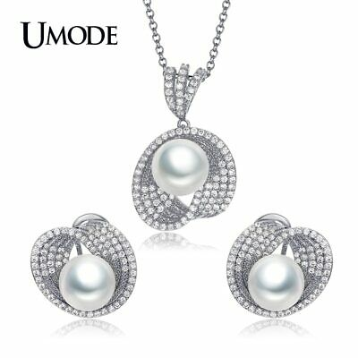 UMODE Brand New Simulated-pearl Jewelry Sets For Women Fashion Round CZ Cystal