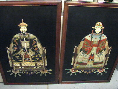 Pair of Vintage Chinese Ancestor Wall Panels Hand Carved Soapstone on Wood