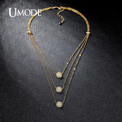 UMODE Three Layers Micro Zirconia Paved Three Half Balls Gold-color Choker