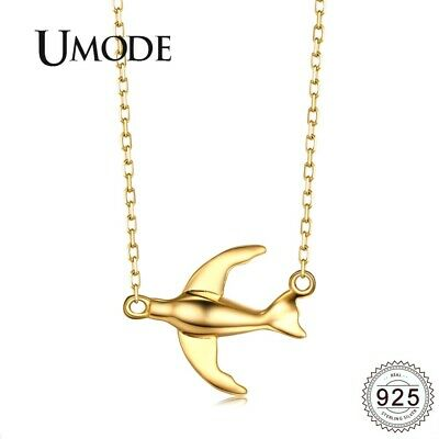 UMODE Gold Fish Bird Sterling 925 Silver Necklaces for Women Female Fashionable