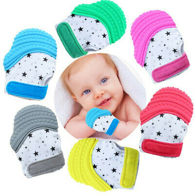 Baby Silicone Mitts Teething Mitten Cow Teething Molar Gloves Wrapper Teether US