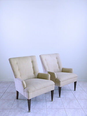 mid century mod french LOUIS XVI hollywood regency HIGH BACK lounge arm chairs
