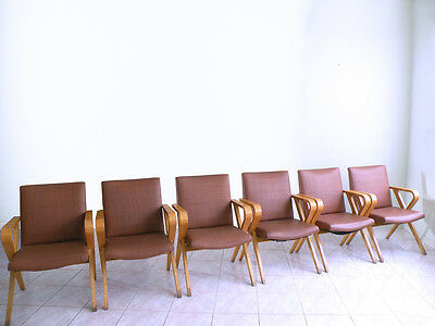 THONET mid century mod machine age BENTWOOD dining conference SET of 6 armchairs