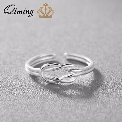 925 Silver Infinity Knot Ring Adjustable Rings for Women Men Jewelry Accessories