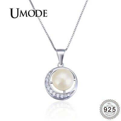UMODE Moon Freshwater Pearl Necklace for Women with Pure 925 Sterling Silver