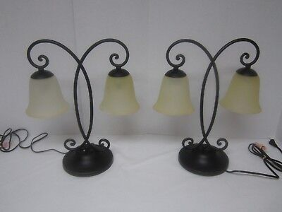 Pair of Wrought Iron Table Lamps with double glass shades - Excellent Cond