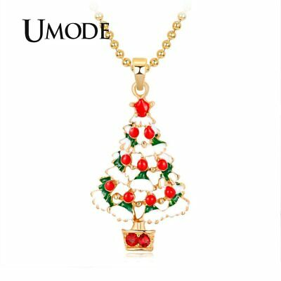 UMODE Christmas Tree Girls Necklace Long Chain Pendant Jewelry for Women Gifts