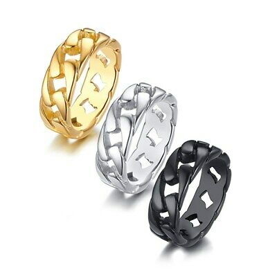 7mm Silver/Gold/Black Hollow Chain Band Mens Stainless Steel Punk Ring Size 7-12