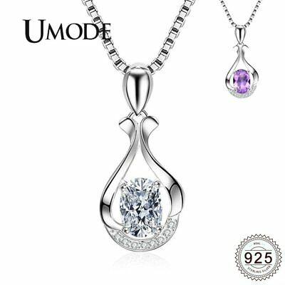 UMODE Egg Water Drop Purple Clear Crystal 925 Sterling Silver Necklaces