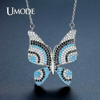 UMODE Colorful Austalian Rhinstone Butterfly Shape Link Chain Crystal Pendant