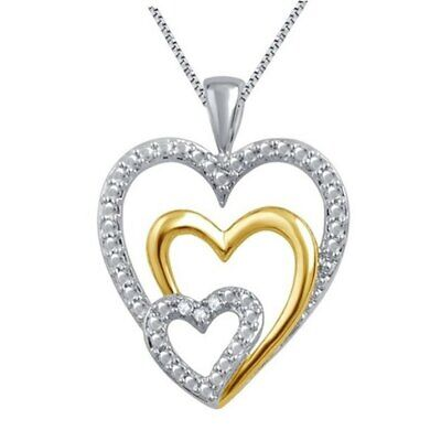 Without Chain 0.03Ct Natural White Round Diamond Women's Heart Pendant In Brass