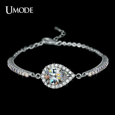 UMODE Austrian Rhinestones Cup Chain and Micro CZ Pave 2 Carat Pear Cut CZ
