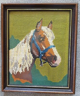 VINTAGE Completed TAPESTRY Horse Framed with Glass Front